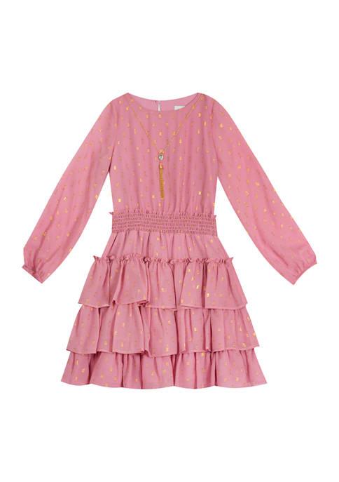 Girls 4-6x Long Sleeve Ruffle Dress