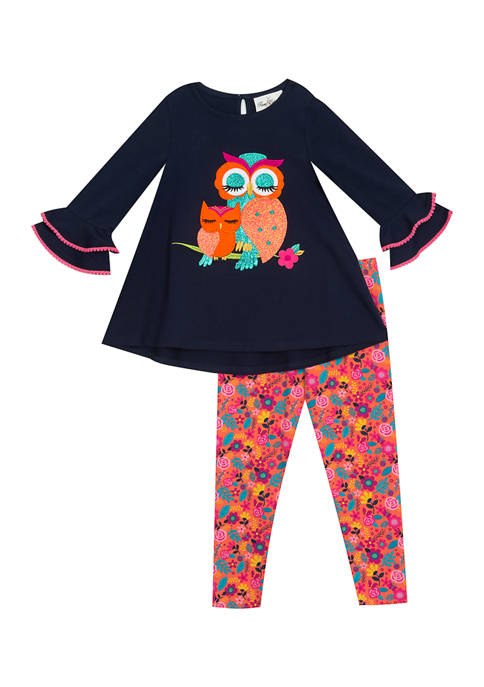 Counting Daisies Girls 4-6x Owl Appliqué Set