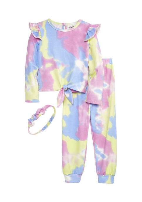 Girls 4-6x Tie Dye Knit Long Sleeve Top and Pants Set