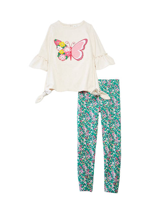 Girls 4-6x Heather Knit Set with Butterfly Appliqué