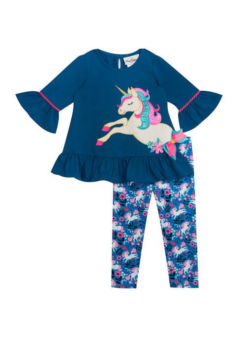 Girls 4-6x Unicorn Appliqué Set