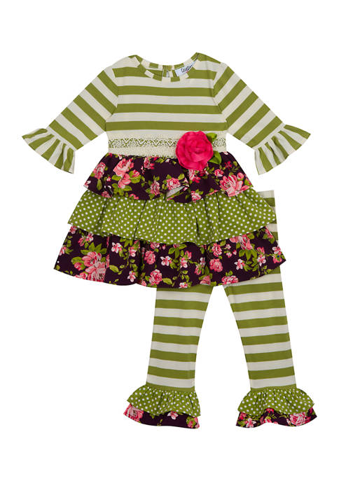 Counting Daisies Girls 4-6x 2 Piece Stripe to