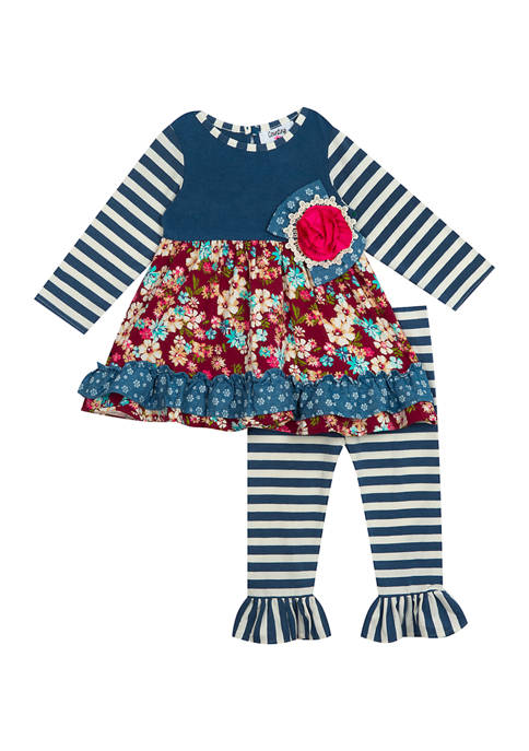 Counting Daisies Girls 4-6x Chambray Top and Pants