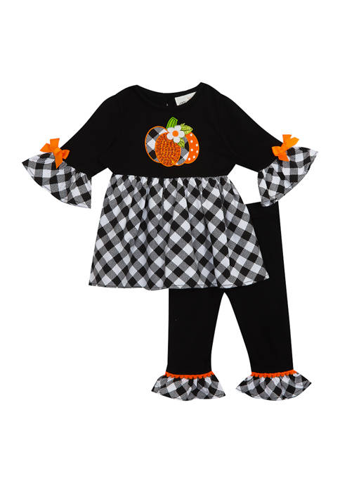 Rare Editions Girls 4-6x Checkered Pumpkin Appliqué Set