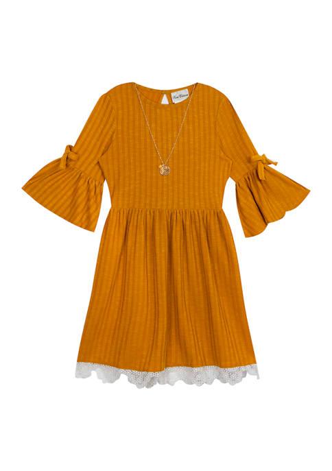 Rare Editions Girls 4-6x Textured Rib Knit Dress
