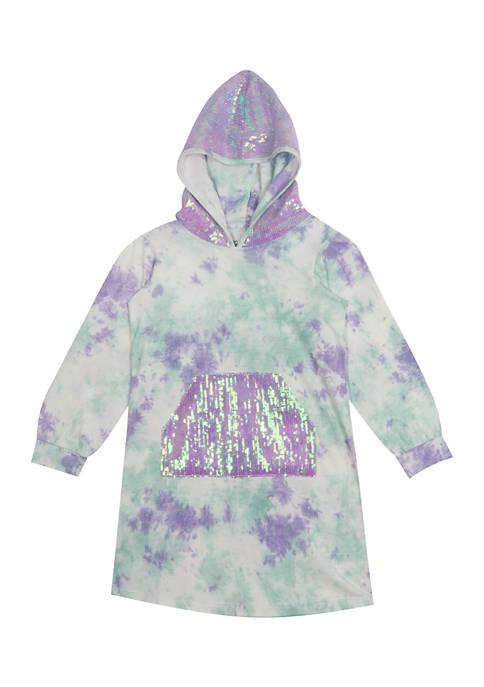 Girls 4-6x Tie Dye Jersey Knit Hooded Dress