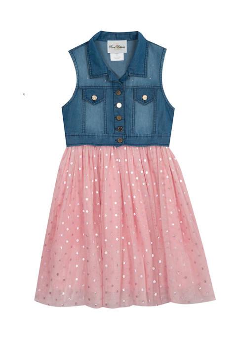 Girls 4-6x Denim Vest Top to Foil Iridescent Dot Mesh Skirt Dress