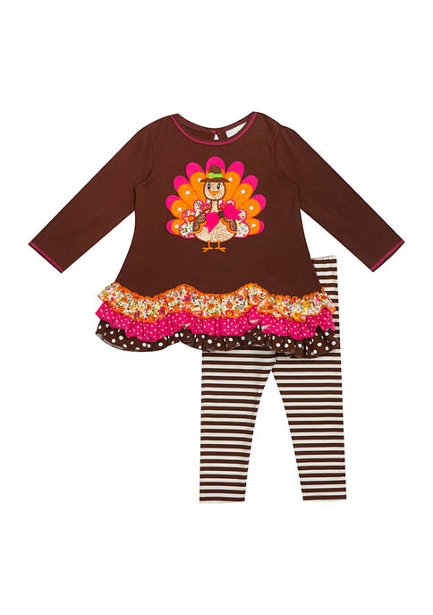 Rare Editions Girls 4-6x Turkey Graphic Knit Tier