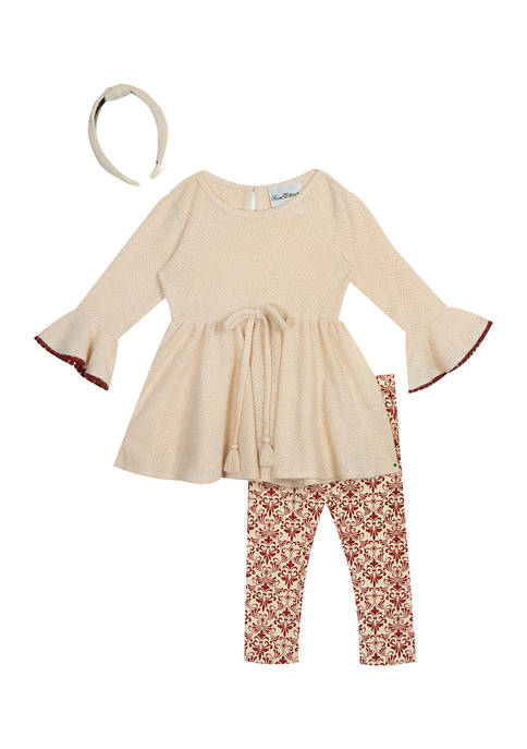 Girls 4-6x Textured Knit Top and Printed Leggings Set