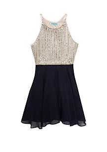 Girls 7-16 Jewel Halter Short Dress