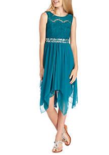 Girls 7-16 Lace Top Jewel Belt Dress