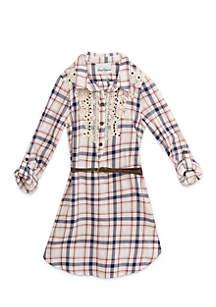 Girls 7-16 Crochet Plaid Dress