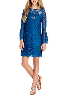 Girls 7-16 Lace Bell Sleeve Dress