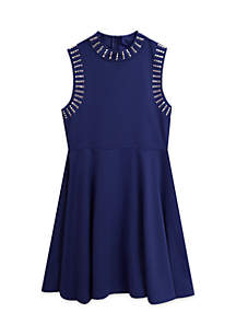 Girls 7-16 Ponte Studded Dress