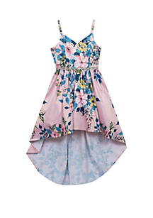 Rare Editions Girls 7-16 Pink Blue Floral Hi-Lo Dress