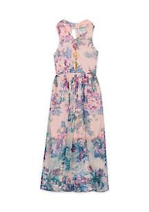 Girls 7-16 Floral Keyhole Neck Maxi Dress