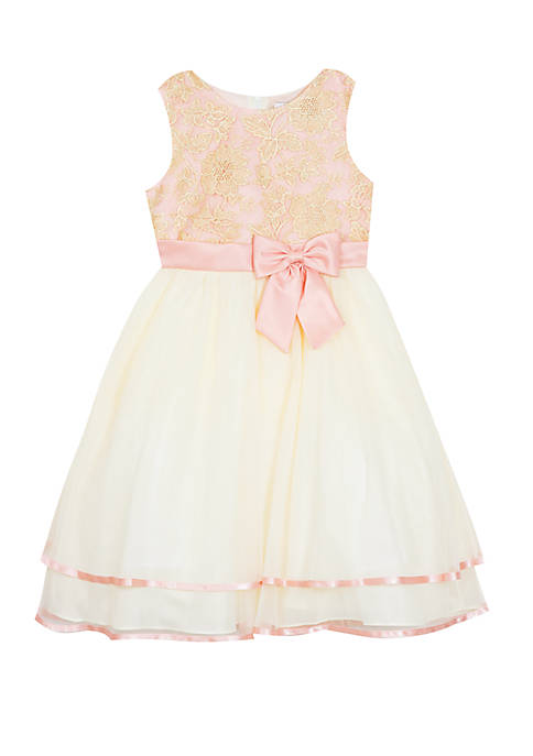 Rare Editions Girls 7-16 Embroidered Tiered Dress