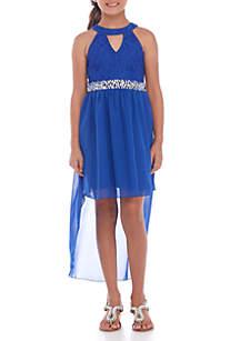 Girls 7-16 Keyhole Neck High Low Dress