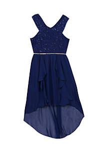 Girls 7-16 Navy Halter Jewel Party Dress