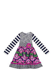 Girls 7-16 Knit to Woven Long Sleeve Mix Print Dress