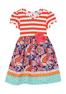 Girls 7-16 Purple Mix Print Dress