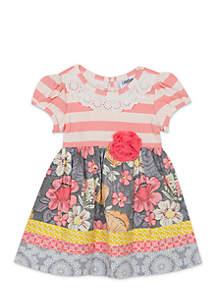 Girls 7-16 Mix Print Dress