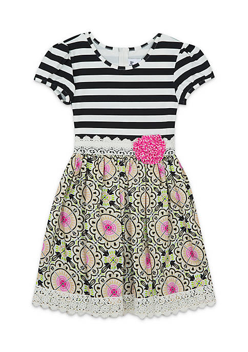 Rare Editions Girls 7-16 Mix Print Dress