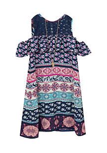 Girls 7-16 Navy/Multi Color Printed Cold Shoulder Dress