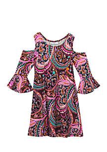 Girls 7-16 Yummy Paisley Cold Shoulder Dress
