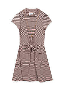 Girls 7-16 Striped Mock Neck Tie Front Dress
