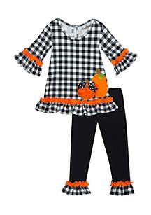 Girls 7-16 Halloween Check Pumpkin Set