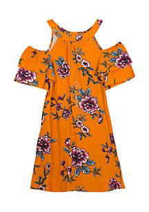 Girls 7-16 Floral Hem Crochet Dress