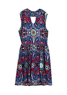 Girls 7-16 Medallion Yummy Skater Dress