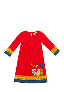 Girls 7-16 Pumpkin Applique Dress