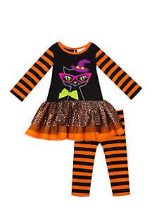 Girls 7-16 Halloween Cat Stripe Set