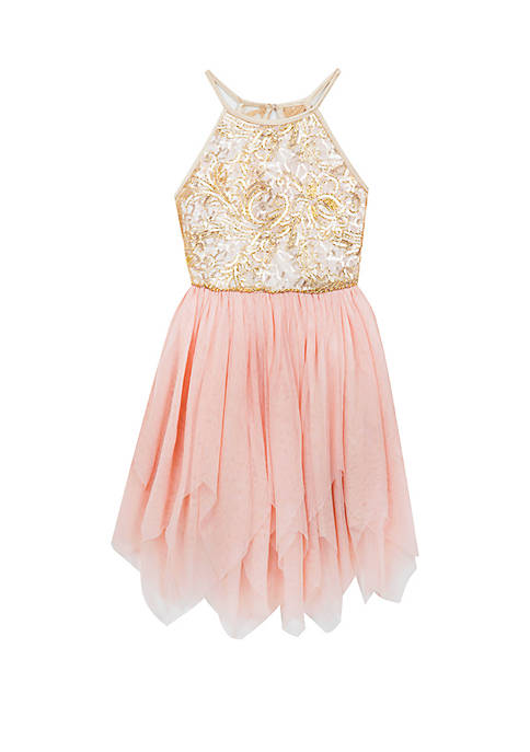 Rare Editions Girls 7-16 Embroidered Bodice Mesh Skirt