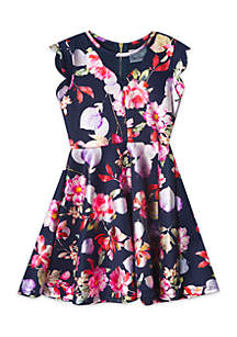 Girls 7-16 Navy Floral Foil Scuba Skater Dress