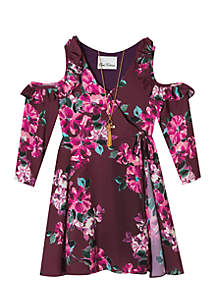 Girls 7-16 Wine Floral Wrap Dress