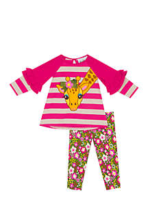 Girls 7-16  Giraffe Stripe Top and Leggings 2-Piece Set