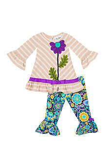 Girls 7-16 Floral Stripe Mix Print Legging Set