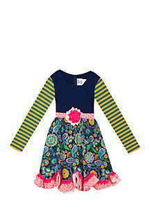 Girls 7-16 Navy Coral Mix Print Dress