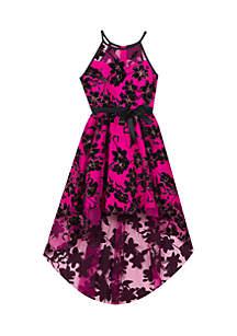Girls 7-16 Pink Black Floral High-Low Dress