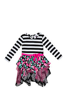 Girls 7-16 Black and White Stripe to Mixed Media Knit Dress