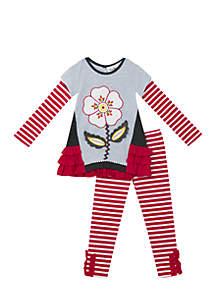 Girls 7-16 Grey Berry Stripe Floral Legging Set