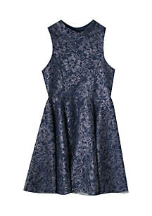 Girls 7-16 Navy Sparkle Lace Fit-and-Flare Dress