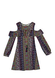 Girls 7-16 Multi Print Bayadere Yummy Dress