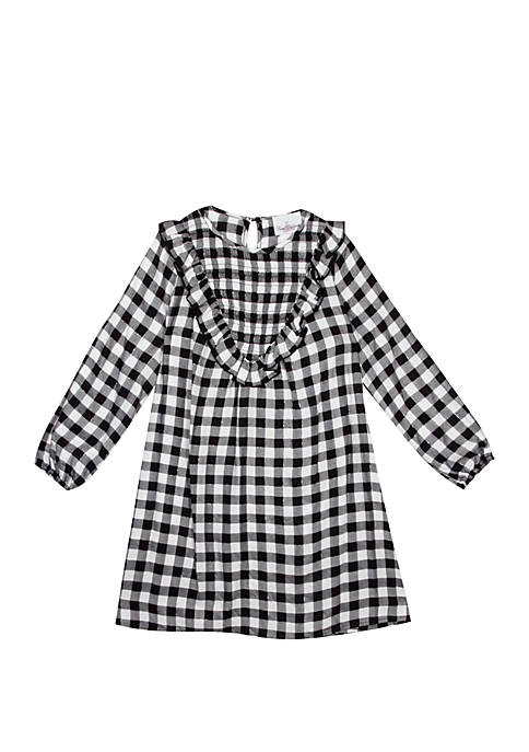 Rare Editions Girls 7-16 Check Dress with Smocking