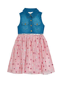 Rare Editions Girls 7-16 Denim Bodice Mesh Skirt Dress