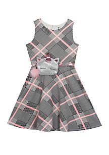 Rare Editions Girls 7-16 Plaid Unicorn Belt Dress