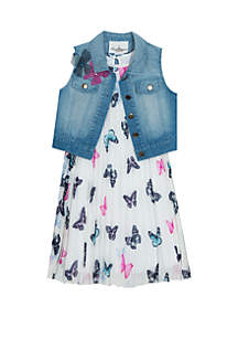 Rare Editions Girls 7-16 Butterfly Pleated Dress and Denim Vest Set